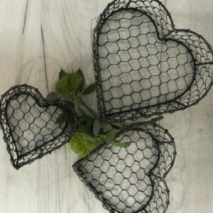 Nest of Wire Heart Baskets